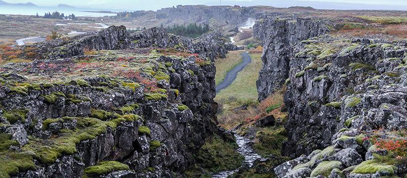Gesteinsverwerfung im thingvellir Nationalpark Island