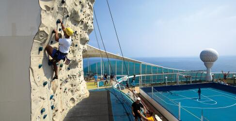 climbing Voyager of the Seas