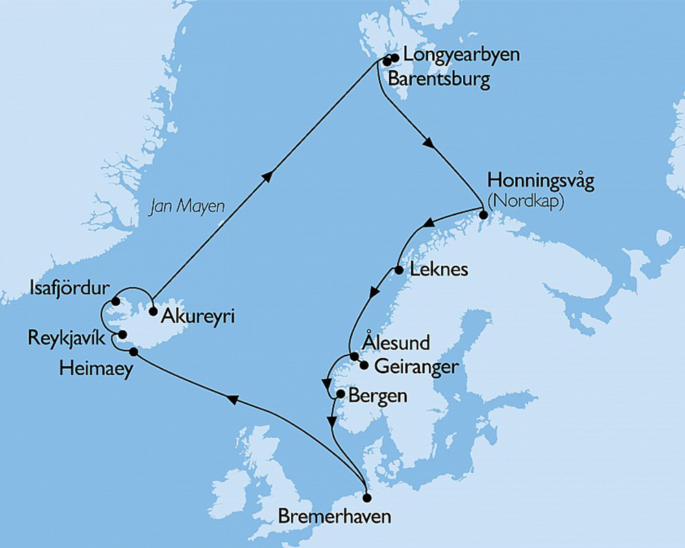 Island und Spitzbergen Kreuzfahrt