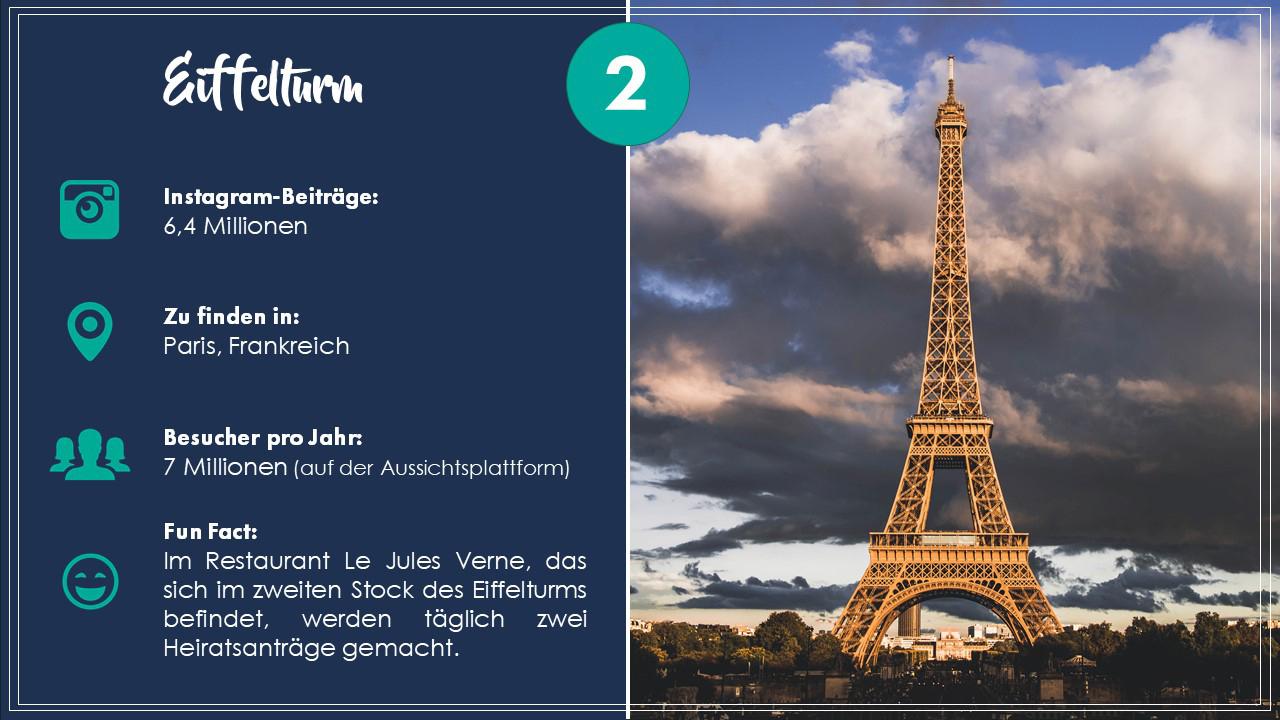 Platz 2: Eiffelturm in Paris (Frankreich)